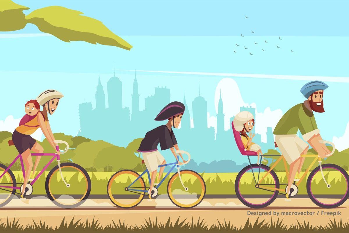 家族5人で自転車