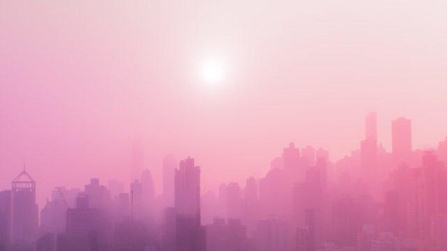 ピンク色の街並み